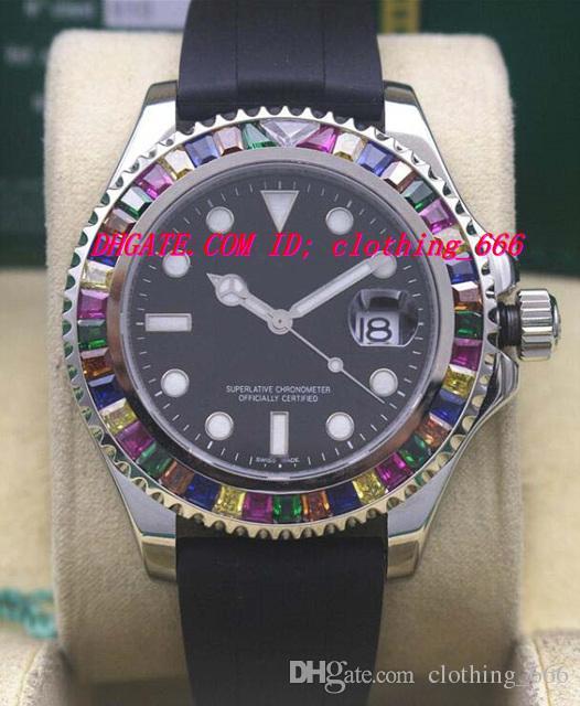 Luxury Watches RAINBOW Diamond 18K ROSE/WHITE GOLD 116695 New In Box Automatic Fashion Men's Watch Wristwatch