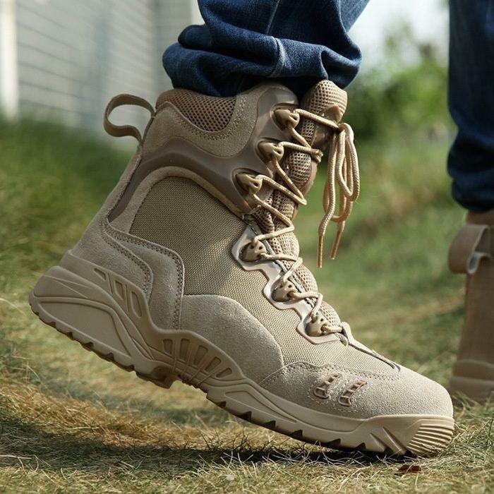 Marke Männer Militärstiefel Spezialeinheiten Armee Taktische Wüste Kampfstiefel Outdoor Wanderschuhe Kuh Leder Schnee Stiefel