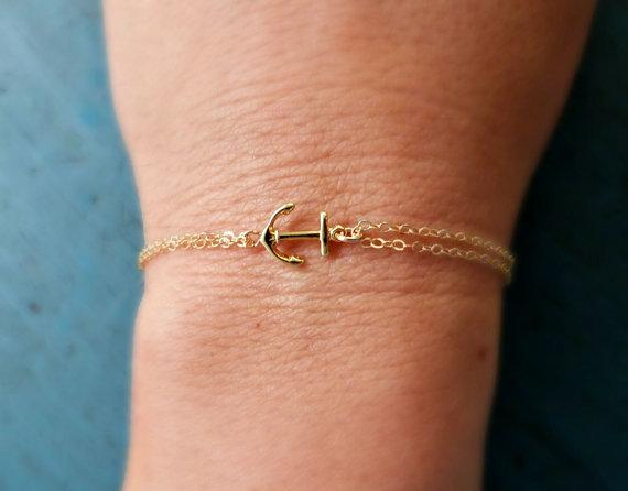 Silver Anchor Bracelet Beach Wedding Bridesmaid Jewelry gift for man and woman nautical jewelry Navy Gift