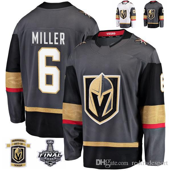 2018 Stanley Cup Final Vegas Golden Knights Colin Miller Hockey Jerseys Stitched 6 Colin Miller Grey Jersey Custom Name Inaugural Patch