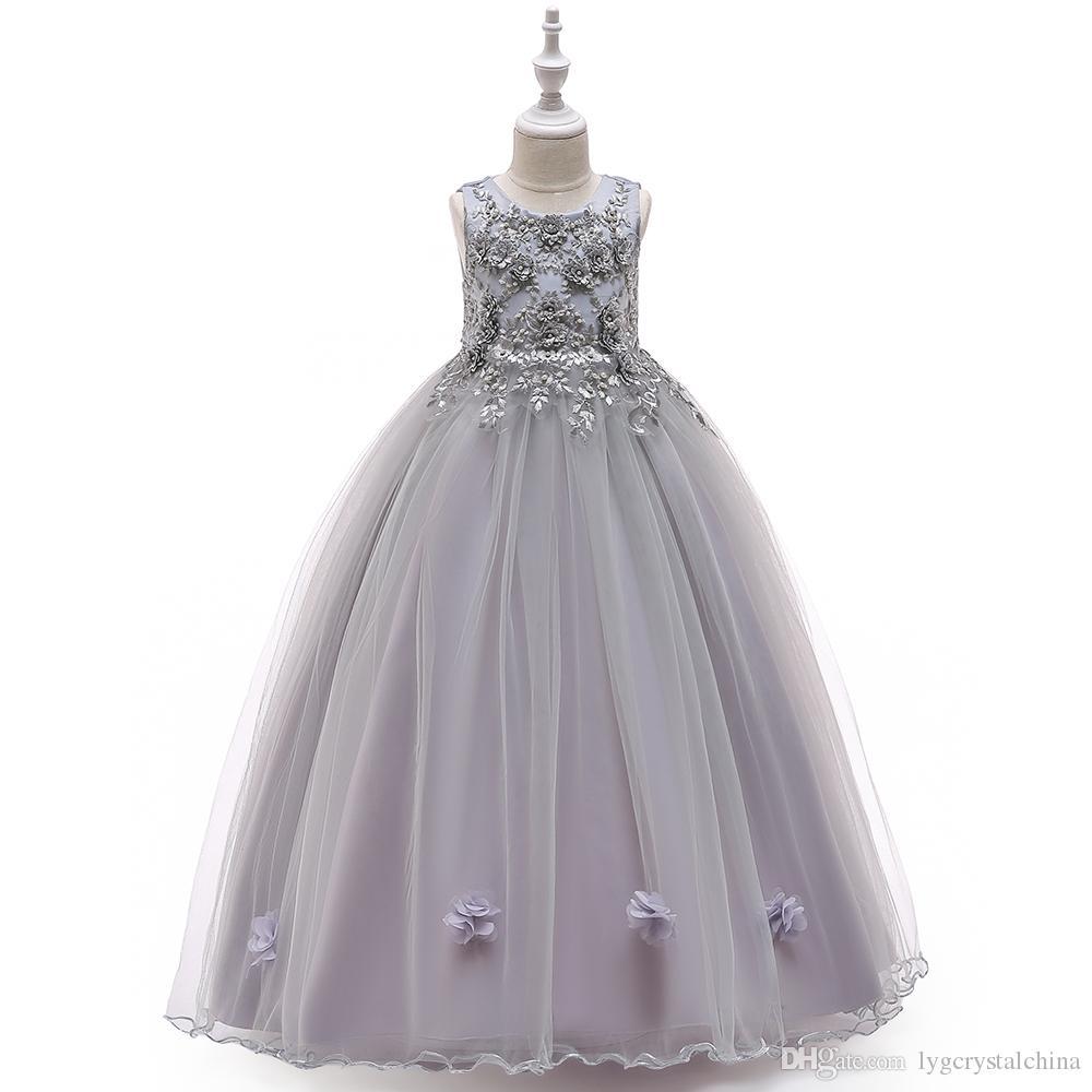 Новая коллекция длинное платье для детей с бисером серые принцессы платье девушки подиума для девочек, пагентные платья бальное платье хорошее мастерство