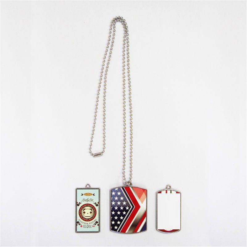 Hundemarke Halsketten Anhänger für Farbstoff Sublimation Schild Rechteck Halskette Anhänger Thermotransferdruck DIY benutzerdefinierte Verbrauchsmaterialien Großhandel