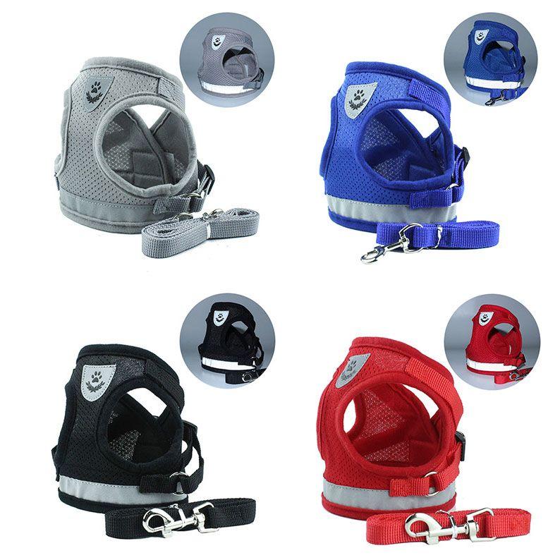 Yelek Modeli Köpek Koşum Tasma Set Nefes Örgü Askı Yelek Yaka Halat Pet Köpek Malzemeleri Bırak Gemi 360011