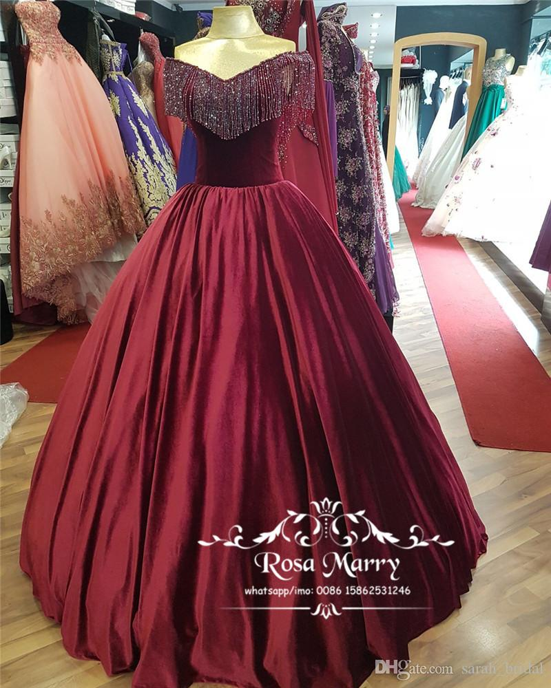 Burgundy Velvet Ball Gown Prom Dresses 2018 Off Shoulder Beading Plus Size  Quinceanera Pageant Formal Evening Party Gowns Real Images Cheap Multi ...