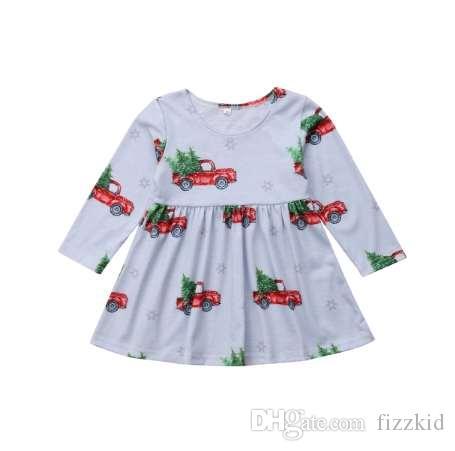 Рождество малыш дети девочка платье с длинным рукавом автомобиль шаблон онлайн Принцесса девушки праздник платья Xmas одежда