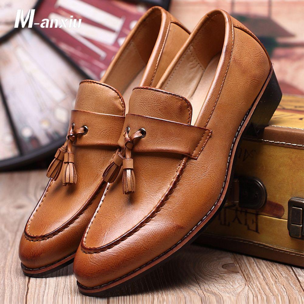 М-anxiu мужской обуви мода кожа DoCasual плоские кисти Slip-на драйвер туфли мокасины острым носом мокасины свадебные туфли