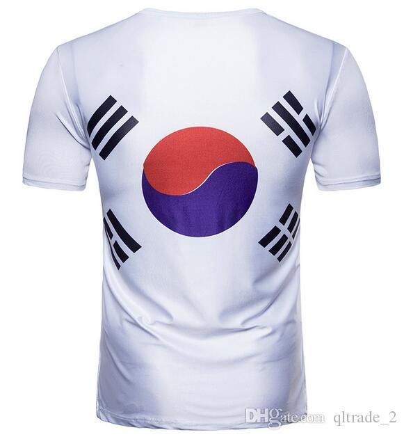mangas curtas equipa de futebol Tai Chi Tiger Korea Soccer Team 2018 da Copa do Mundo Rússia homens camisetas com t-shirt do pescoço de grupo dos homens