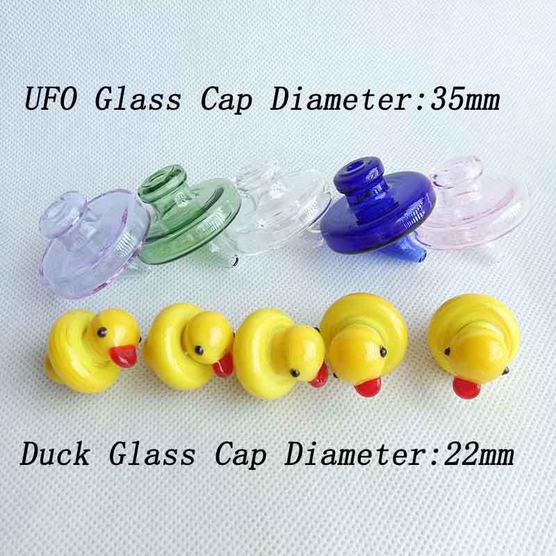 Hediyesi 4 Styles Az 34mm Kuvars Banger Çiviler 2mm 3mm 4mm Oil Rig İçin Renkli UFO Cam Şişe Carb Cap Sarı Kubbe 35mm OD Duck 5 renk