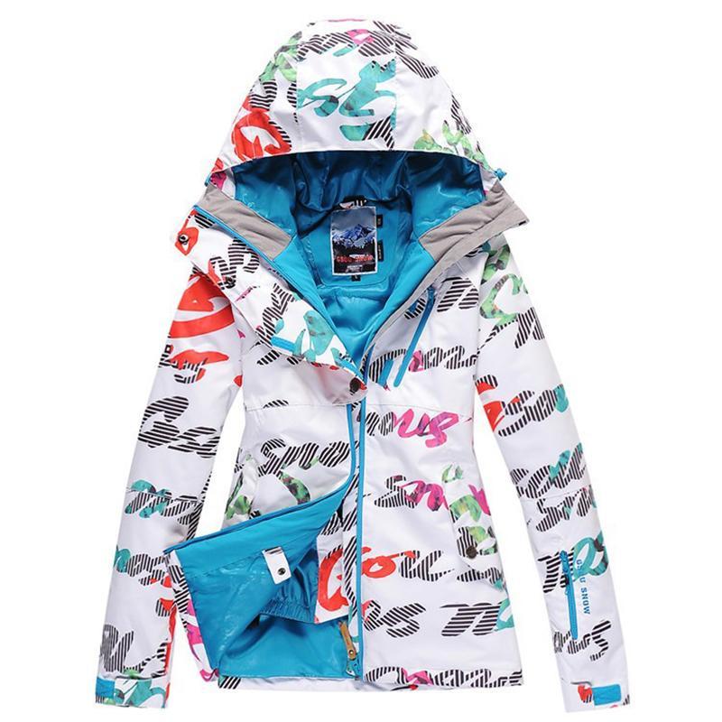 Kayak takım elbise kadın nowboard takım kayak ceket çift kurulu su geçirmez sıcak açık spor kayak giysileri ceket kadın