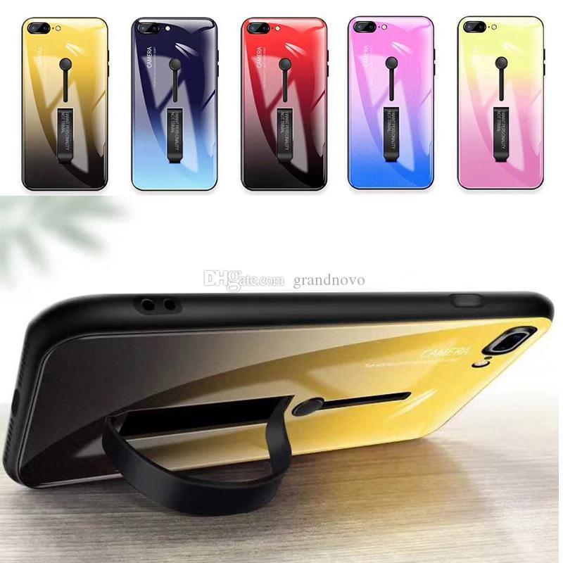 Arc-en-ciel de couleur dégradé Portable Titulaire Hybrid Armure Defender PC + TPU Étui rigide Kickstand Cover pour iPhone XS Max XR X 8 7 6 6S Plus