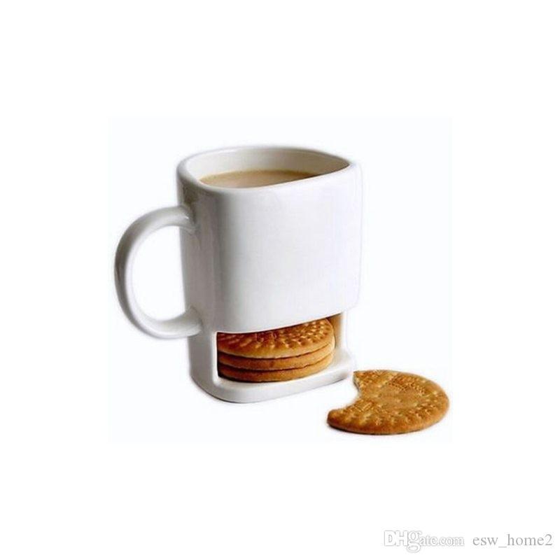 250ML tazza in ceramica caffè bianco tè biscotti latte tazza di tè tazza di tè lato tasche con tasche per il Ministero degli interni