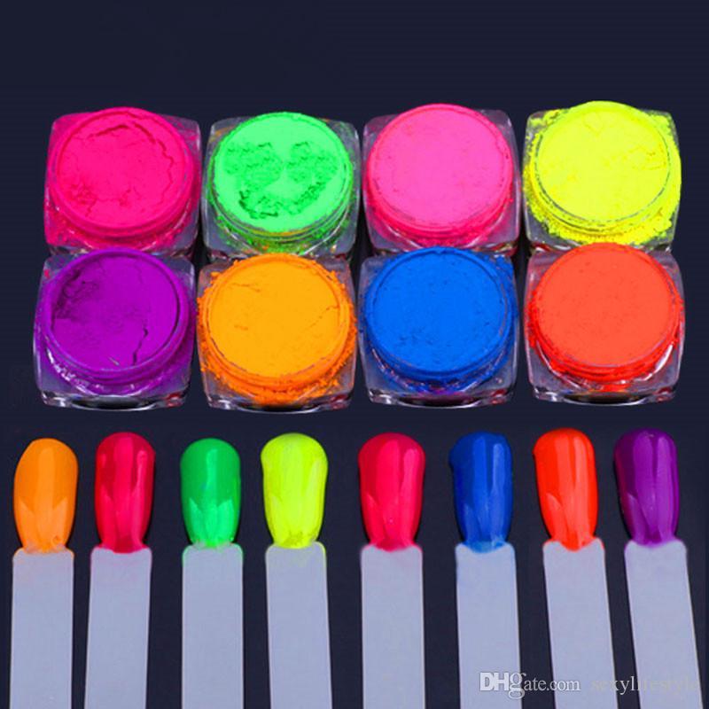 8 Gläser / Set Neon Pigment Einhorn Nagel Staub Neon Pigmente Farbverlauf Nail Art Glitter Neon Pulver Farbverlauf Pigmente hübsch