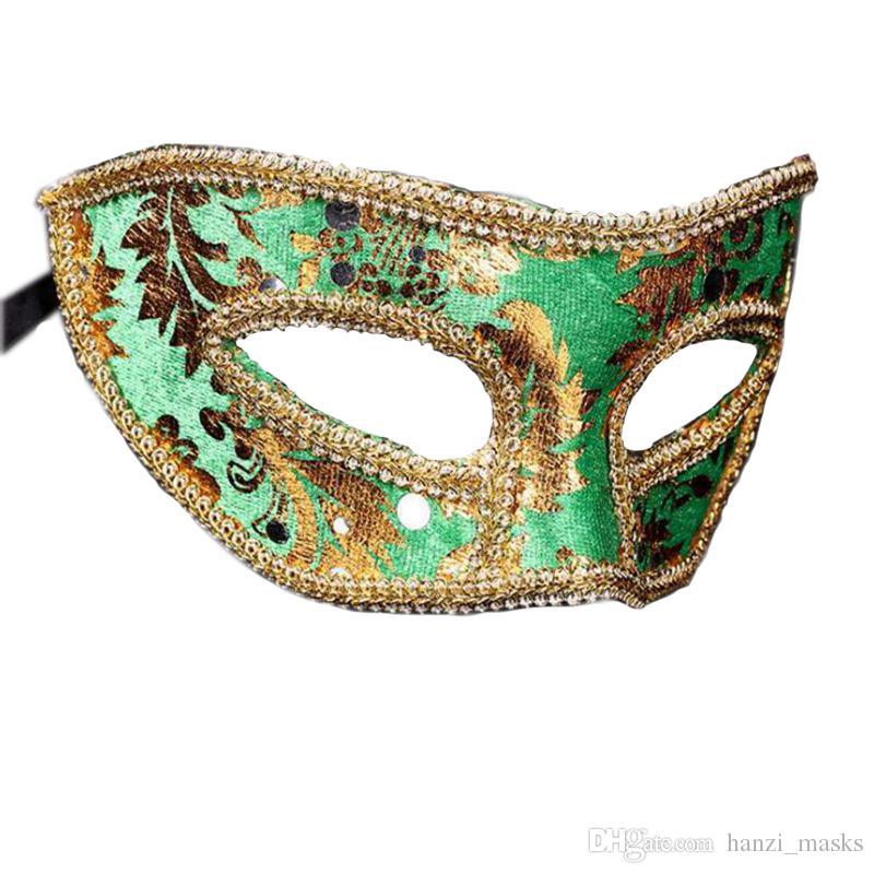 Hanzi_masks Adult Women Man Prince Lace Sequin Venetian Masks Masquerade Half Face Mask Dress Party Decor Christmas Navidad New Year