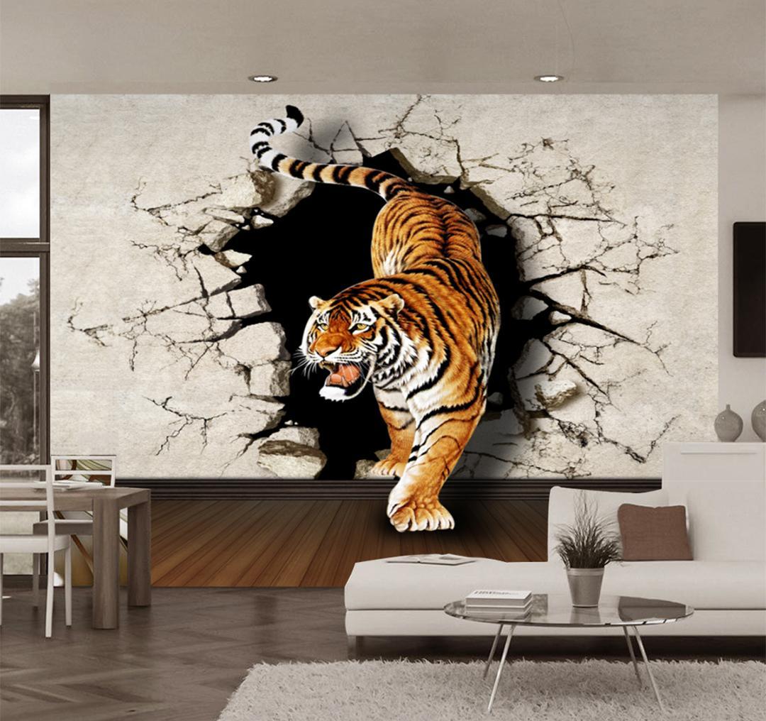 Benutzerdefinierte Einzelhandel 3D Stereo Tigers Down The Mountain Wandbild TV Hintergrund Wand Tiger Wandmalerei
