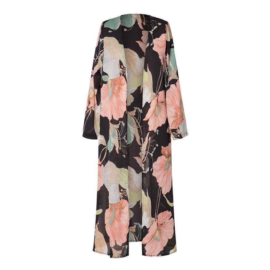 Feitong 2018 Kimono Hırka Kadınlar Uzun Kollu Baskılı Şal Beachwear Şifon Üstleri Bluz Tops