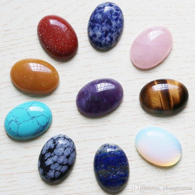 Comercio al por mayor 10 unids / lote piedra Natural Oval CABÓN CABOCHÓN Perlas de lágrima Color mezclando 18 * 25mm Joyería de DIY que hace el anillo Regalo de vacaciones Envío gratis