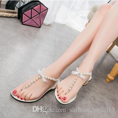 2018 summer new women's fashion wild Korean student beach low-heeled open-toe pin flat flat bottom Roman sandals