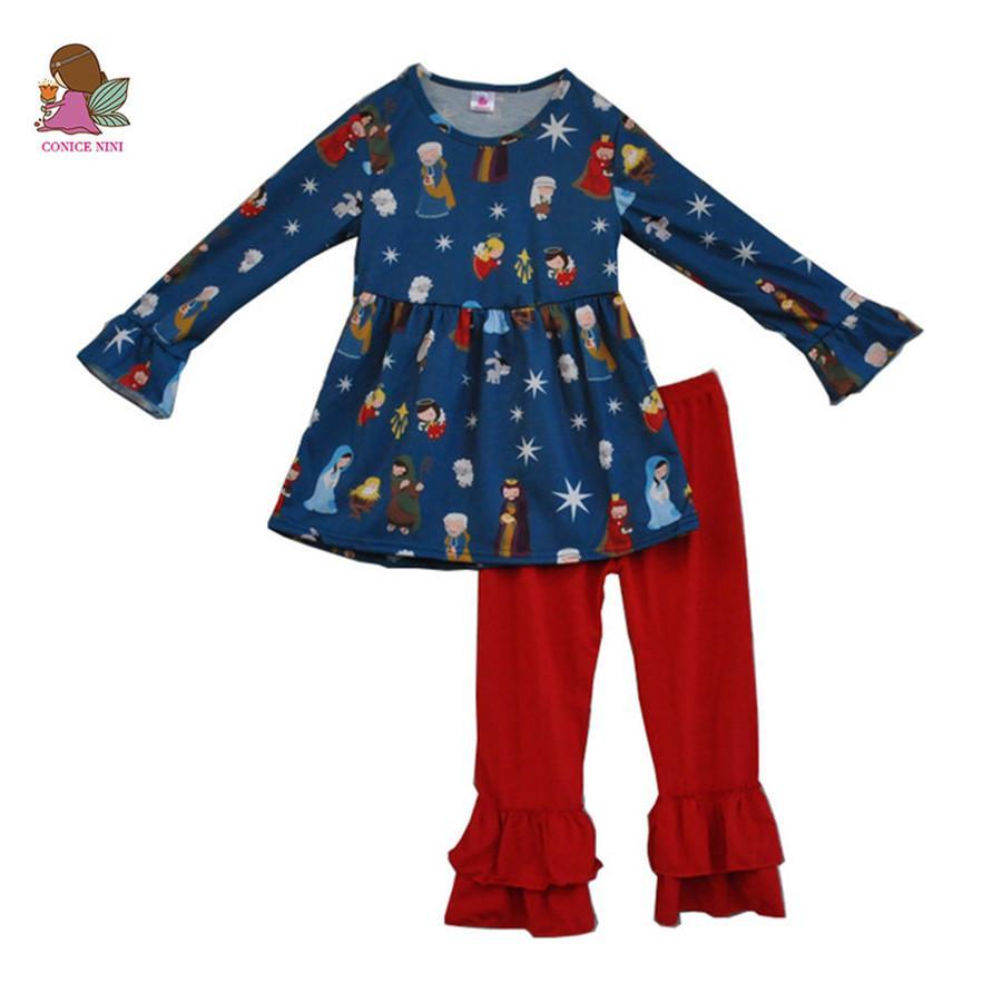 Fiel Baby Jesus Imprimir Algodão Top e Bottom 2pcs Roupas Bebê Outfits Crianças Terno Inverno Criança Meninas Conjuntos de roupas F071