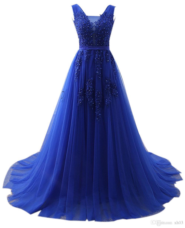 Großhandel Lange Abend Ballkleid Elegante Vestido De Festa Eine Linie  Abendkleider Applique Robe De Soiree Günstige Abendkleid Von Xh13, 13,13 €  Auf
