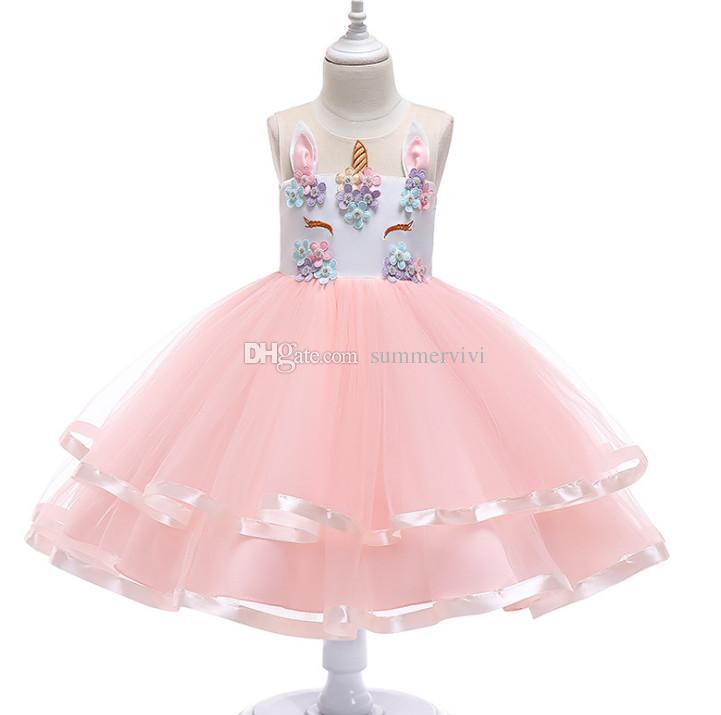 Compre Vestido De Unicornio Para Niños Niñas Con Cuentas De Flores Estéreo Vestidos De Fiesta De Navidad Niños Unicornio Bordado Príncipes Vestido De