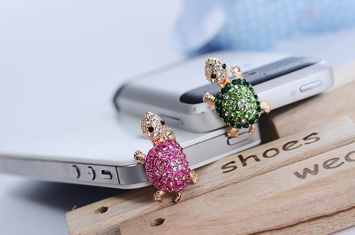 elmas sevimli karikatür kaplumbağa telefon toz fişi 3.5mm evrensel kristal kulaklık fişi Kore versiyonu