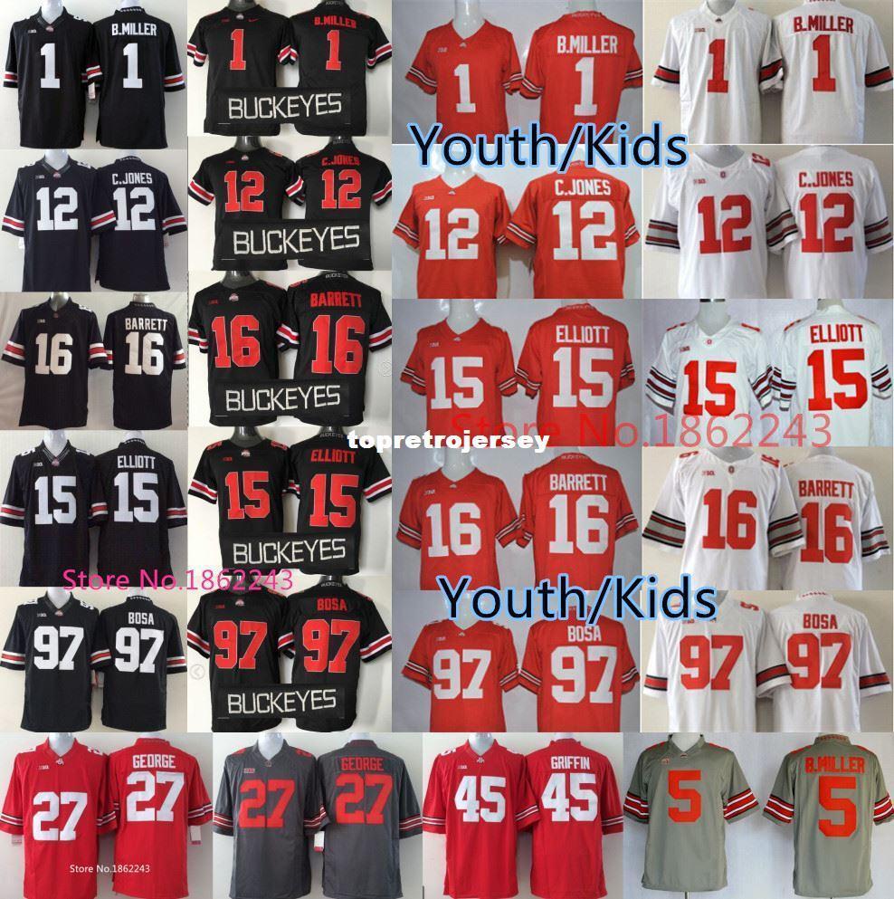 Factory Outlet- Ohio State Buckeyes Youth College Football Jersey Kids Women,Braxton Miller,Jones,Ezekiel Elliott,JT Barrett ,Bosa Red Black