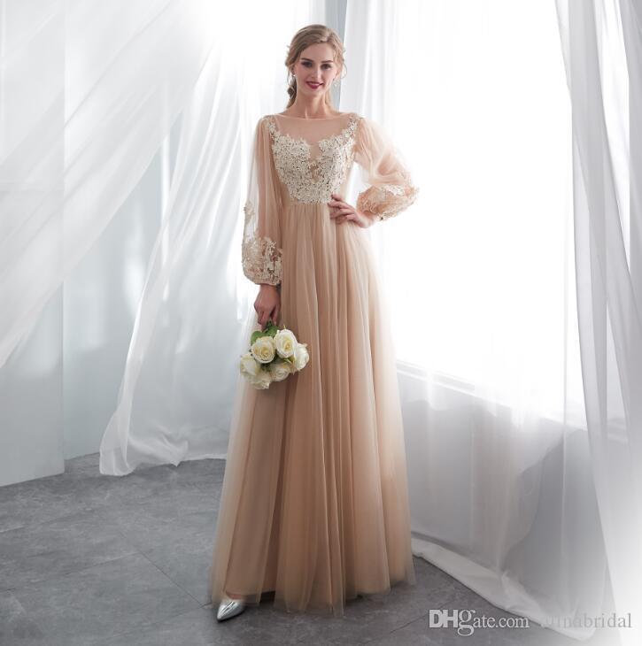 2018 Nova fadas elegante escuro Champagne Prom vestido de Lanterna manga vestido de noite formal Tulle longo apliques No Vestido de festa formal da 22658