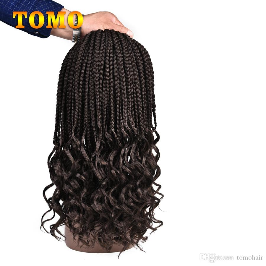 Crochet Braids Ombre Burgundy Synthetic curly Ends Box Braid Hair For Black Woman Crochet Braiding Hair Extensions 22 Strands/pack