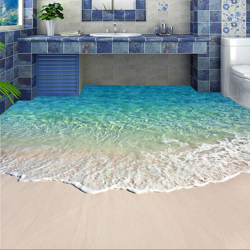 Autocollant mural papier peint photo papier peint 3D eau de mer vague plancher autocollant salle de bain porter antidérapant imperméable papiers peints