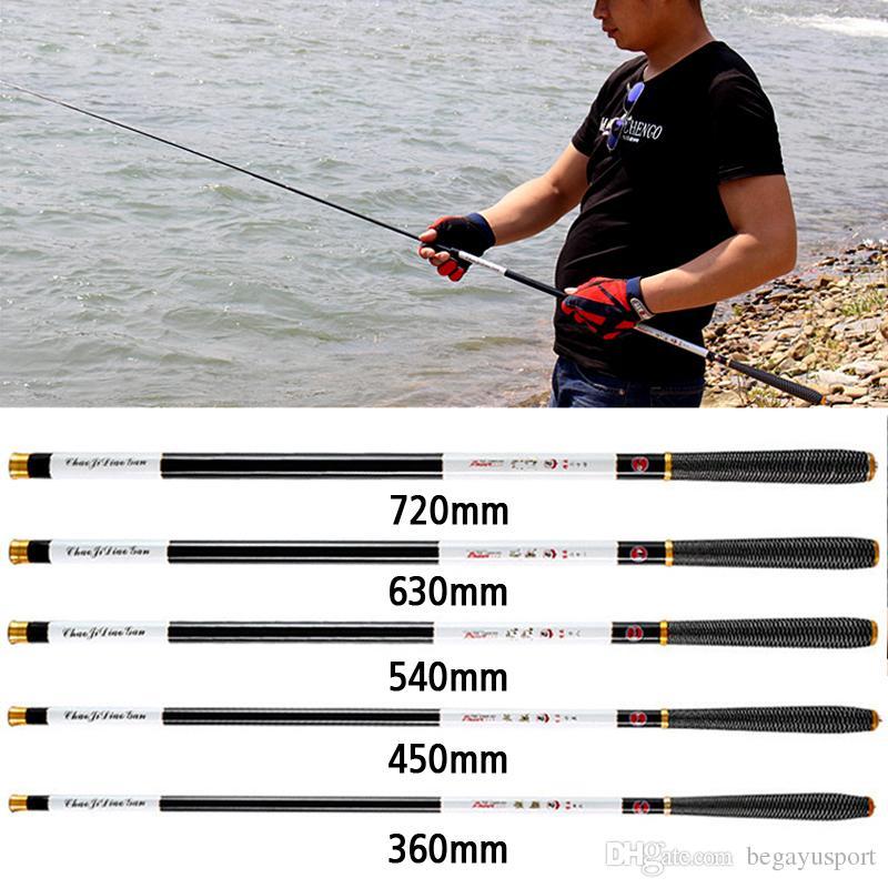Vara de pesca 4.5 / 5.4 / 6.3 / 7.2 M Vara Telescópica Portátil Pólo De Aço Ultra-leve Carpa Mão Haste Telescópica Vara De Pesca Equipamento De Pesca