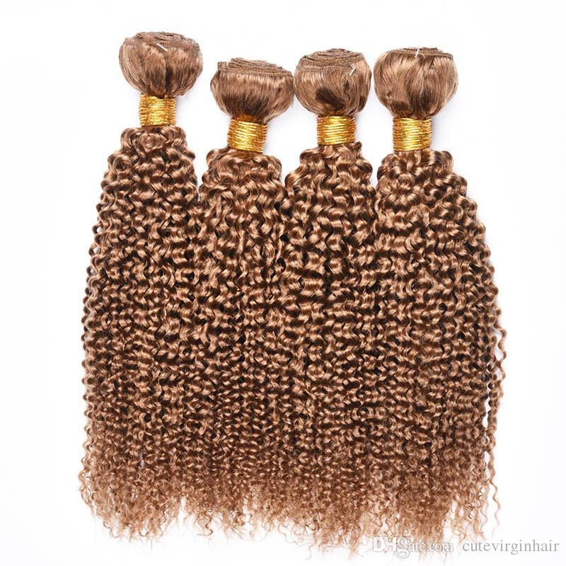 4 Pcs humains Bundles cheveux crépus bouclés 27 # Honey Blonde Vierge brésilienne péruvienne malaisienne Curly Human Hair Extension Weaves offres à bas prix
