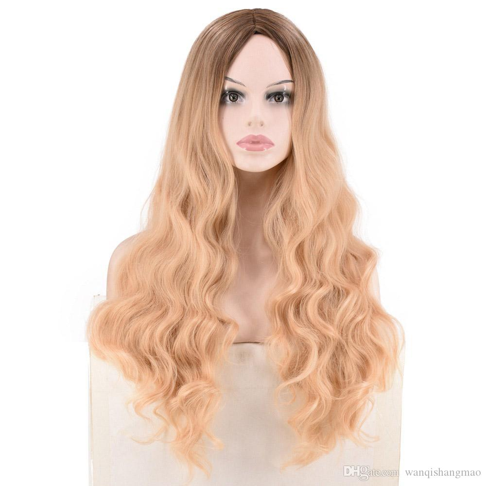 Top Quality Ombre Color Light Brown Long Curly Wave Hair Wigs Heat Resistant Synthetic Wig for Black Women