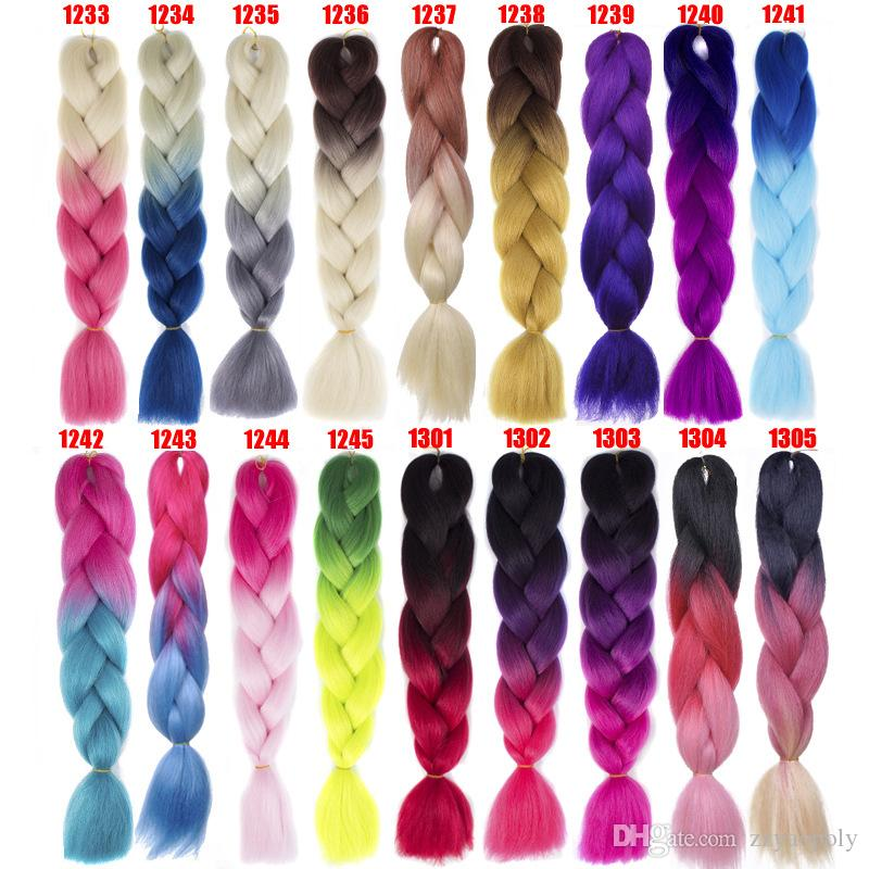 100g Synthetic Jumbo Braids Hair 24 inch High Temperature Fiber Jumbo Brading Ombre Crochet Braiding Hair Extensions
