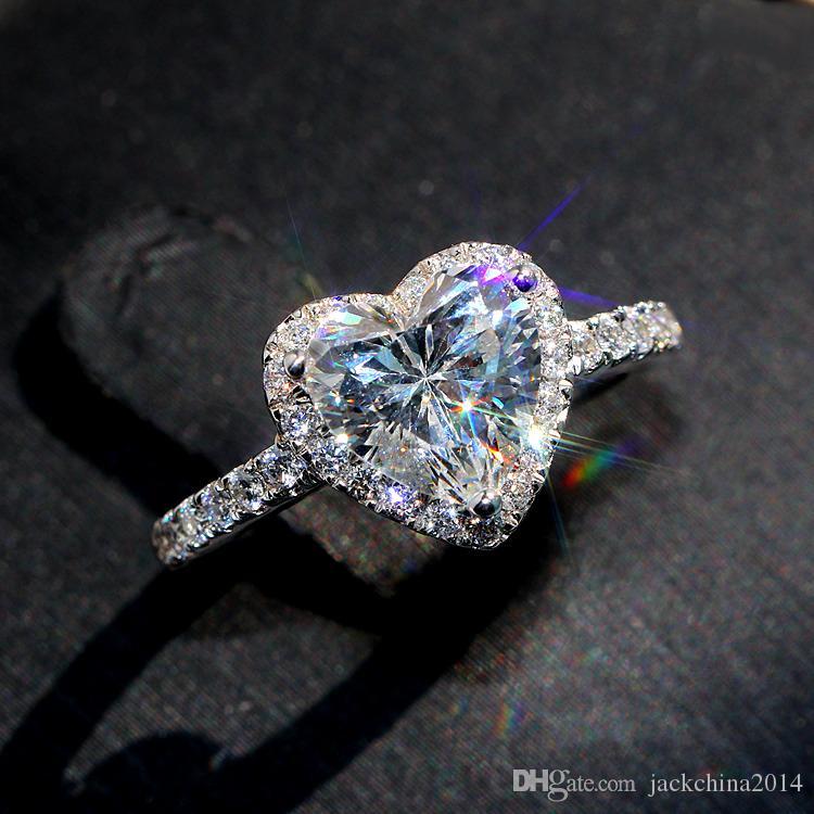 Victoria Wieck Jewelry di lusso classico 925 sterling argento pera tagliato bianco topazio cz diamante promessa eternity wedding cuore anello per le donne