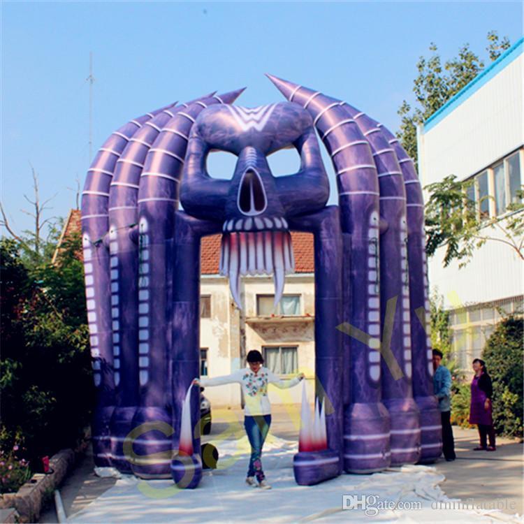 Arco de la muerte de Halloween del arco fantasma asustadizo inflable de encargo al aire libre de 6m para el club o el pub de la decoración de Halloween