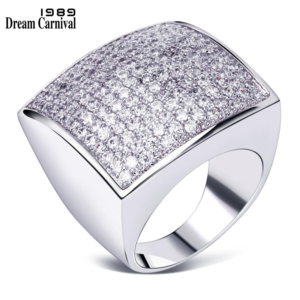DreamCarnival 1989 Big Square Rings for Women Wedding Party Anniversary Rhodium Gold Color CZ Paved Anillos Mujer Bagues SJ14371 Y1891205