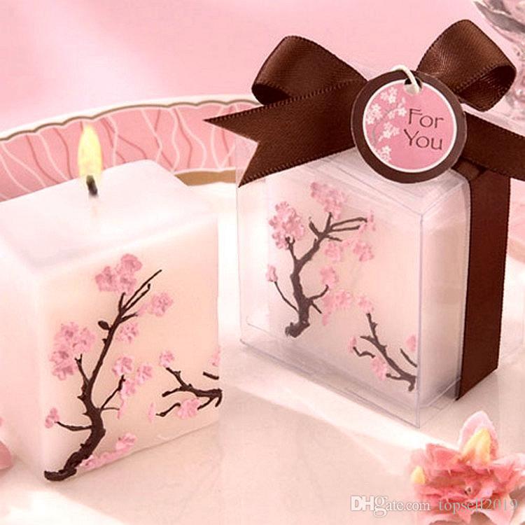 100 pcs Bougies De Mariage Sans Parfum Cire parfumée Cherry Blossoms Bougie De Mariage Cadeau Cadeaux Faveurs Partie Décoration SN409