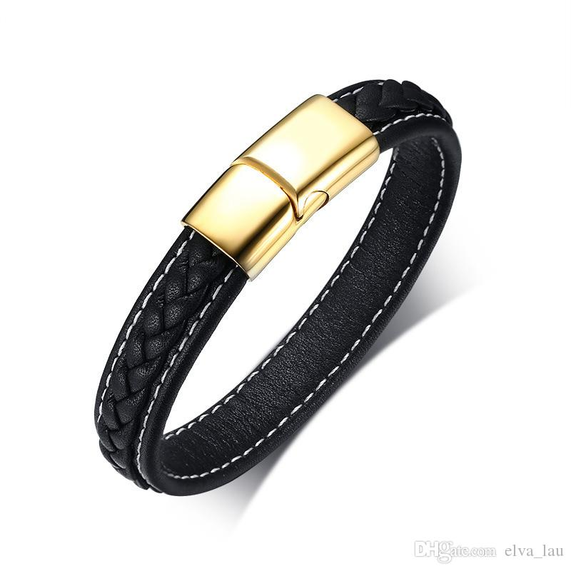 Mens Black Genuine Real Leather Bracelet Stainless Steel Magnetic Clasp Bracelets Bangles Male Boy Punk Jewelry Pulseras