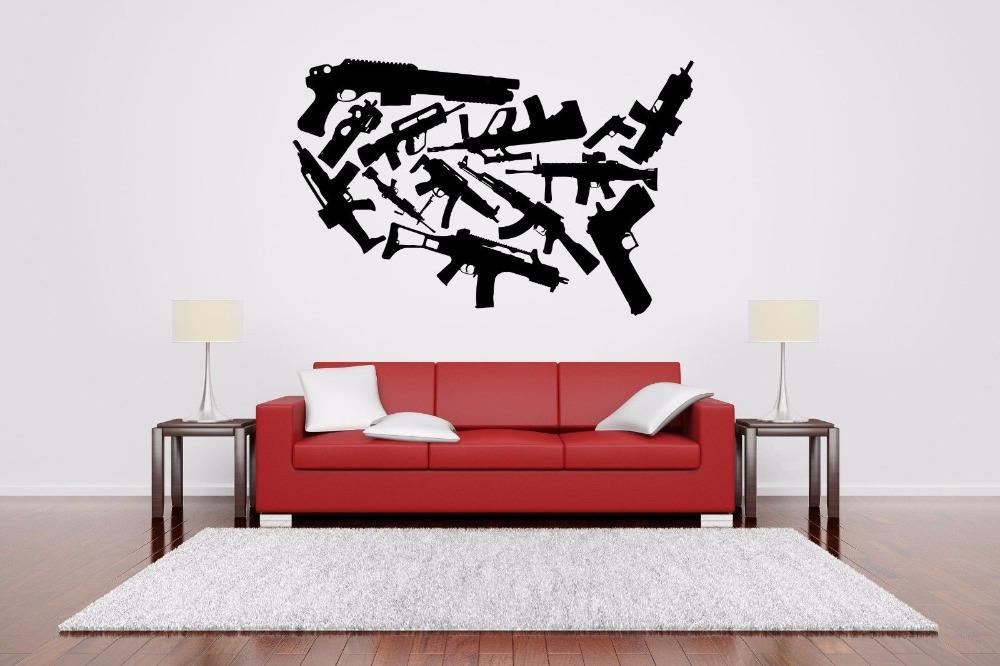 Machine Gun Set Rack Wall Sticker for living room boys room bedroom home wall decoration