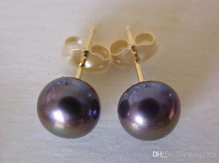 Stunning round 11-12 mm nero south sea pearl orecchino borchia in oro giallo