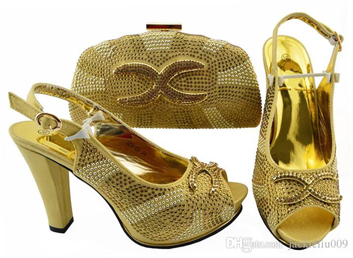 Bombas A maioria das mulheres de ouro populares conjunto de saco partida com strass sapatos africanos e bolsa para JZS-03 vestido, 11CM calcanhar