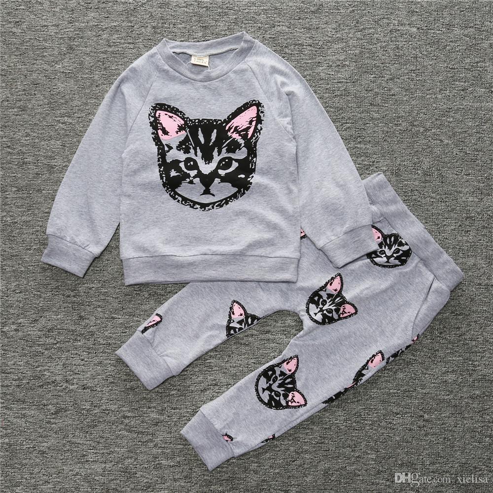 Ragazza Abbigliamento per bambini Set Cute Print Cat Tuta sportiva Tuta sportiva da uomo con pantaloni a maniche lunghe Felpa casual Vestibilità