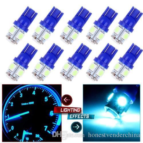 10Pcs Ice Blue T10 5SMD 5050 Car Led Wedge Light Plate License 194 2825 501 Bul