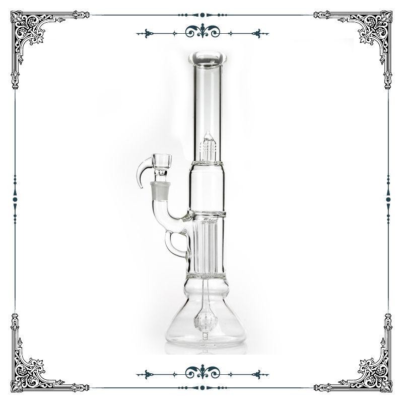 Hot sale 14'' Sovereignty glass beaker bong 4 arms perc and Reinforced 8 Arm Pillar percolator bongs glass smoking water pipe hookah bong