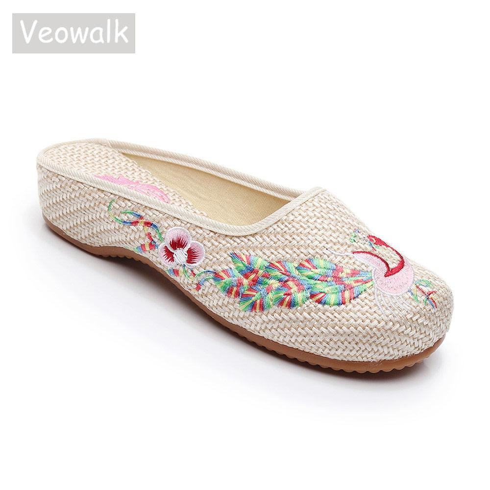 wholesale Crane Embroidered Women Linen Cotton Close Toe Slippers Vintage Chinese Ladies Comfort Slip on Flat Slide Shoes Beige