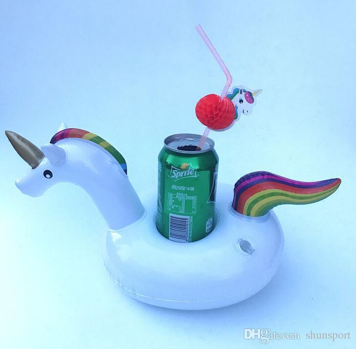 Mini Water Coasters Unicorn Плавающая надувная подставка для чашки Бассейн с напитком поплавок Игрушечная подставка для чашки Water