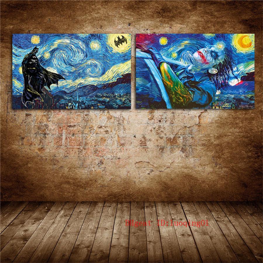 2020 Batman Starry Night Vincent Van Gogh Canvas Pieces Home