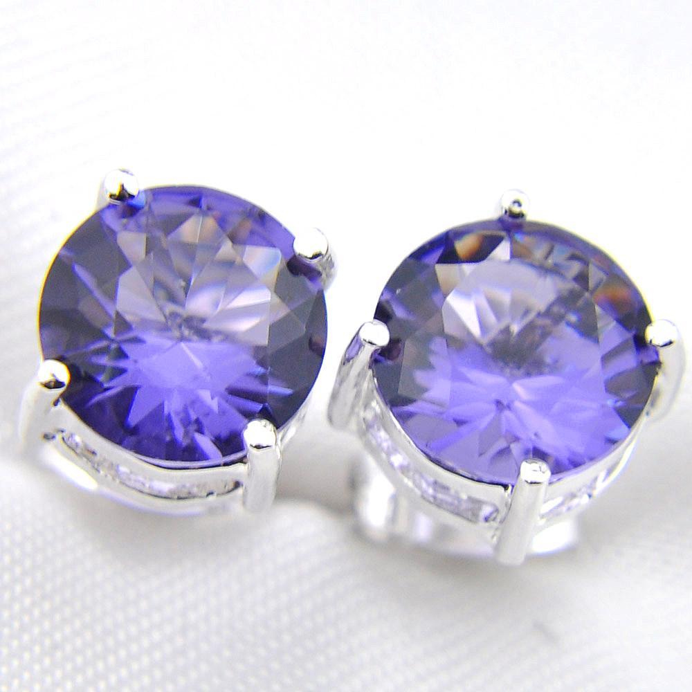 LuckyShine simple manera de las mujeres pendientes del banquete de boda púrpura del perno 925 hombres de las mujeres redonda del perno prisionero del oído estrenar 8 mm