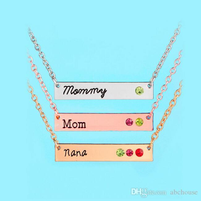 Mommy Mom Nana Necklace Crystal Birthstone Horizontal Bar Necklaces silver rose gold Chain for Women Family Member Jewelry 3 Styles