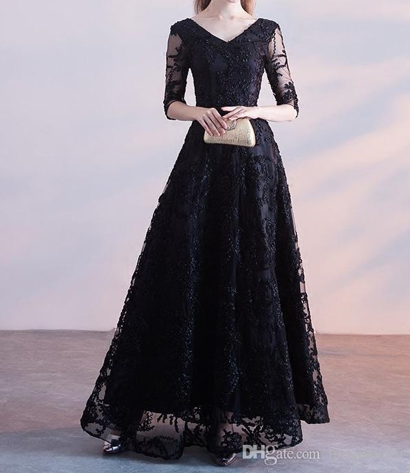 Robes de soirée élégantes noires Longue PromDress Col en V Demi-manches